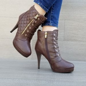 Shoes - Brown Quilted Platform High Heels Booties
